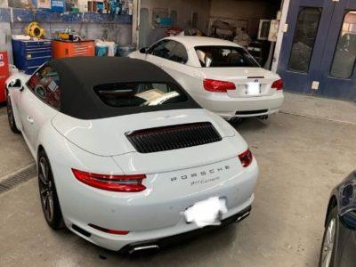 Porsche 911 in our Autobody garage.